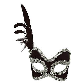 Musta/hopea Velvet naamio.