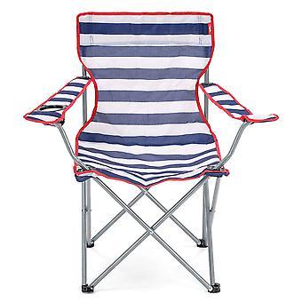 Yello dobrável cadeira de praia para acampar, pescar ou praia - listrado azul/branco