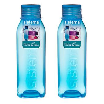 Sistema Set of 2 Square Bottles 725ml, Blue