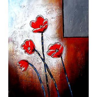 Bloemen olieverfschilderij op doek, 50x60 cm