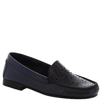 Leonardo Shoes Women's handmade slip-on loafers in openwork blue calf leather