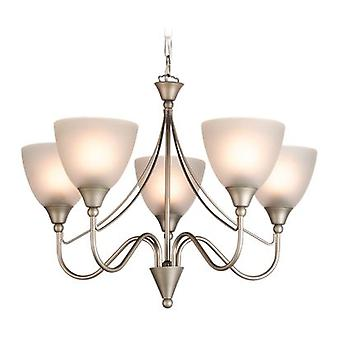 Erstlicht-5 Light Ceiling Pendant Light Satin Steel, Opal Glass-8040SS