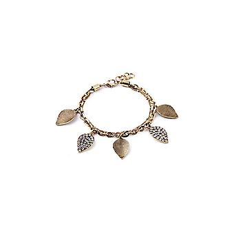 Boho Pave Leaves Of Gold & Light Bangle Bracelet