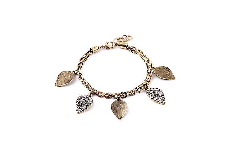 Boho Pave Leaves Of Gold & Light Bangle Bracelet