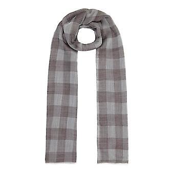 Lightweight check wool and silk scarf - beige