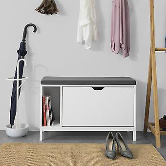 SoBuy Hallway Shoe Rack Cabinet Cabinet Banc de chaussures avec Flip-drawer - Coussin de siège,FSR70-W