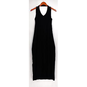 Peace Love World Dress (XXS) Drape Back Cotton Slub Black A290292