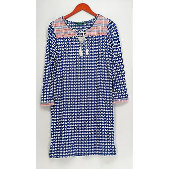 C. Wonder Dress Printed Knit Long Sleeve Embroidered Blue A275637
