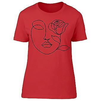 Visage de femme avec le tee-shirt de fleur de rose femmes-apos;s -Image par Shutterstock