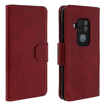 Vintage Series, flip wallet case for Motorola One Zoom - Red