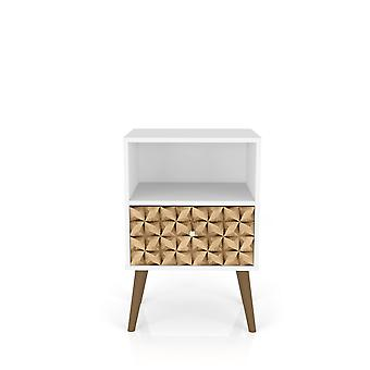 Manhattan comfort  liberty mid century - modern nightstand 1.0 with 1 cubby space and 1 drawer in white and 3d brown prints