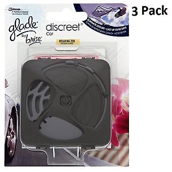 3 x Glade Discreet Car Unit & Refill 12g - Relaxing Zen