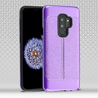 Purple Leather Texture/Black Hybrid Case for Galaxy S9 Plus