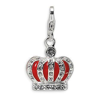 925 מלוטש כסף ברודיום מצופה לובסטר מפואר הסגר קריסטל וכתר אמייל אדום עם לובסטר הקסם Pendan