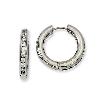 Titanium Polished CZ Cubic Zirconia Simulated Diamond Hinged Hoop Earrings Jewelry Gifts for Women
