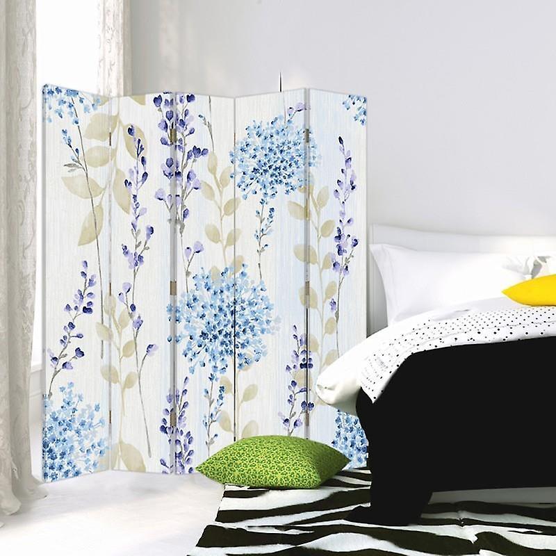 Diviseur de chambre, 5 panneaux, double-sided, Rotatable 360, toile, modèle de fleur 2