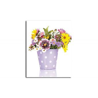 Tela, Immagine su tela, fiori viola in un vaso