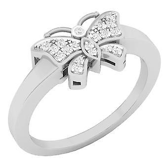 Dazzlingrock collectie 0,10 karaat (CTW) 10K ronde witte diamant rechter hand Butterfly Ring 1/10 CT, wit goud