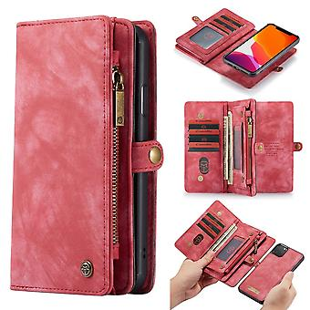 CASEME iPhone 11 Pro Max retro Split nahka lompakko kotelo-punainen