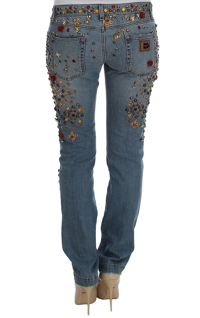 Crystal Roses Heart Embellished To Knee Jeans
