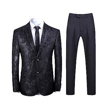Allthemen Men's 2-Piece Suits Jacquard Slim Fit Wedding Blazer&Pants