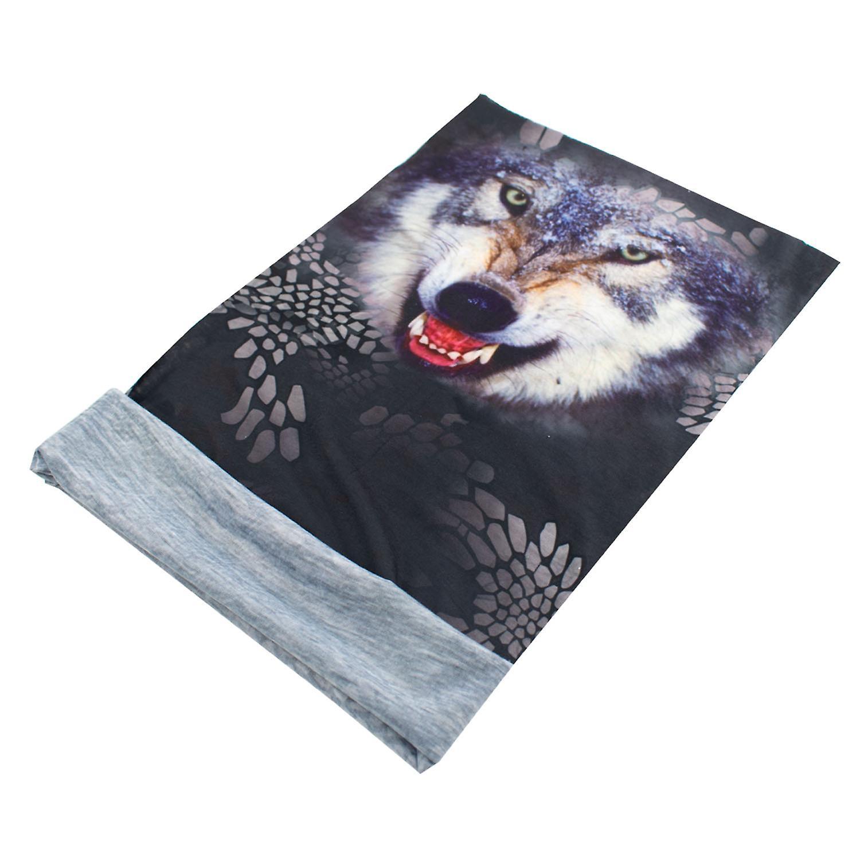 TRIXES Animal Design Bandana Snood Wolf Multi-Functional Head wear
