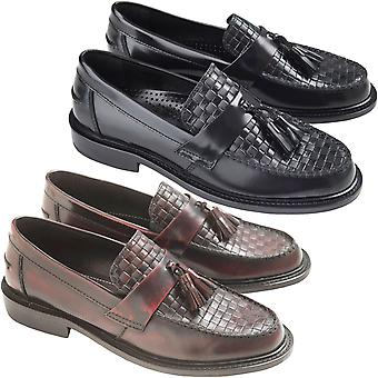 Ikon Mens Weaver Casual Smooth Leather Woven Checkered Retro Mod Styled Loafers