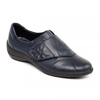 Padders Rose Ladies Leather Wide (e Fit) Shoes Navy
