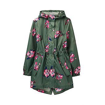 Joules Golightly Womens Printed Waterproof Packaway Jacket - Green Spaced Floral