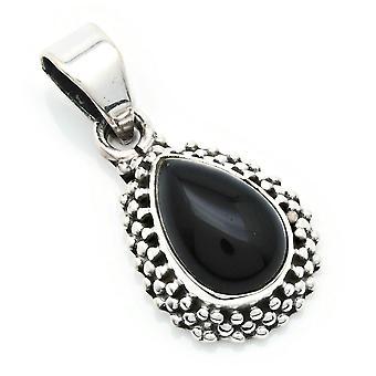 Amuleto de caneta corrente prata 925 Sterling Silver Onyx Black Stone (Nr: MAH 134-03)