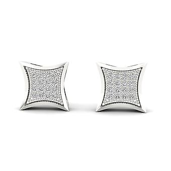 Boucles d'oreilles Igi certifiés 10k or blanc 0,10 ct brillants boucles d'oreilles de goujon de grappe de diamant