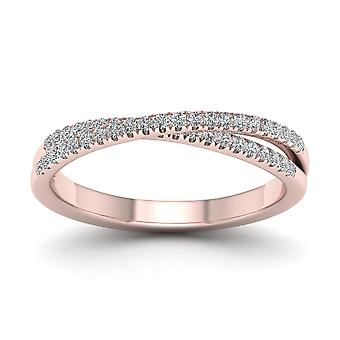 Igi certificado oro rosa 10.23 ct diamante cross-over anillo de boda