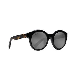 Maui Jim Jasmine GS738 02B Gloss Zwart met Tokyo Schildpad/ Neutrale grijze zonnebril