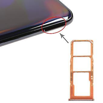 Dual Sim Karten Halter für Samsung Galaxy A70 Orange Card Tray Micro SD Ersatzteil
