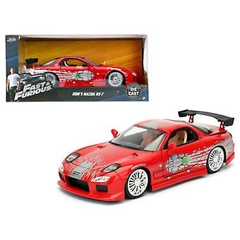 Dom\'s Mazda RX-7 Red \Fast and Furious\ Movie 1/24 Diecast Model Car by Jada