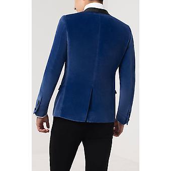 Twisted Tailor Mens Bright Blue Tuxedo Dinner Jacket Skinny Fit Velvet Contrast Shawl Lapel
