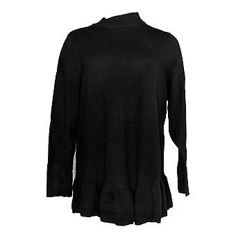 Isaac Mizrahi Live! Women's Plus Sweater Mock-Neck Black A346837