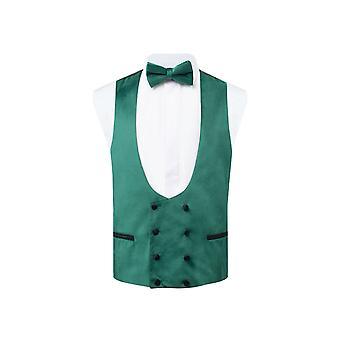Dobell Mens Racing Green Velvet Tuxedo Waistcoat Regular Fit Double Breasted
