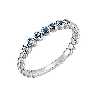 14k White Gold Diamond Polished 0.17 Dwt Diamond Stackable Ring  Size 6.5 Jewelry Gifts for Women