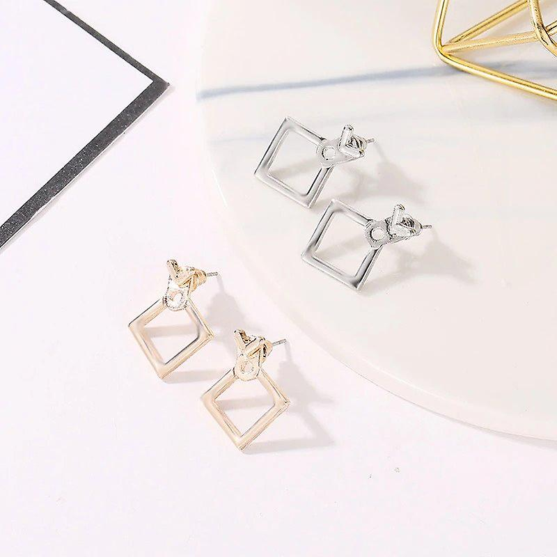 Geometric Ear Back Earrings - Gold Studs