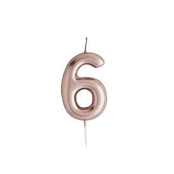 Rose Gold Birthday Party Candle, Number 6 Rose Gold Candle