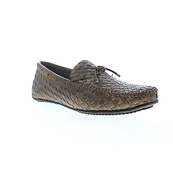 Zanzara Dali  Mens Brown Leather Casual Slip On Loafers Shoes