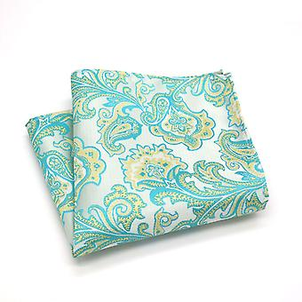 Turquoise green & yellow floral pattern pocket square