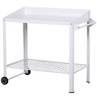 Outsunny Outdoor Metal Potting Bench Garden Planting Table Push Cart w/ Wheels Mesh Shelf Side Rod White