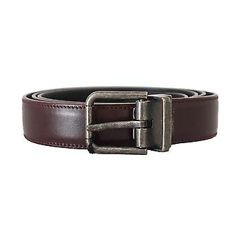 Dolce & Gabbana Bordeaux Leather Gray Brushed Buckle Belt