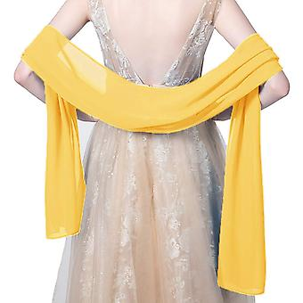 Chiffon Shawls and Wraps For Evening, Yellow Gold, Size Length(79