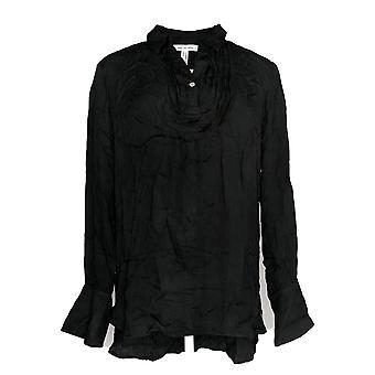 Peace Love World Women's Top Tuxedo Blouse w/ Belle Sleeve Black A295083