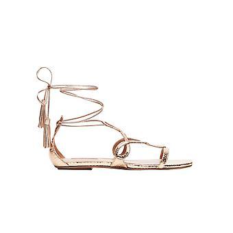 Aquazzura Gtnflas0mtsca0 Women's Gold Leather Sandals