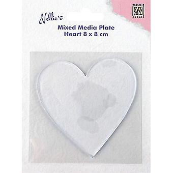 Nellie's Choice Gelplate heart-shape NMMP006 80x80mm