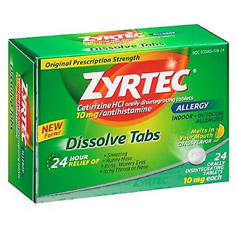 Zyrtec 24 hour allergy relief, dissolve tablets, citrus, 24 ea